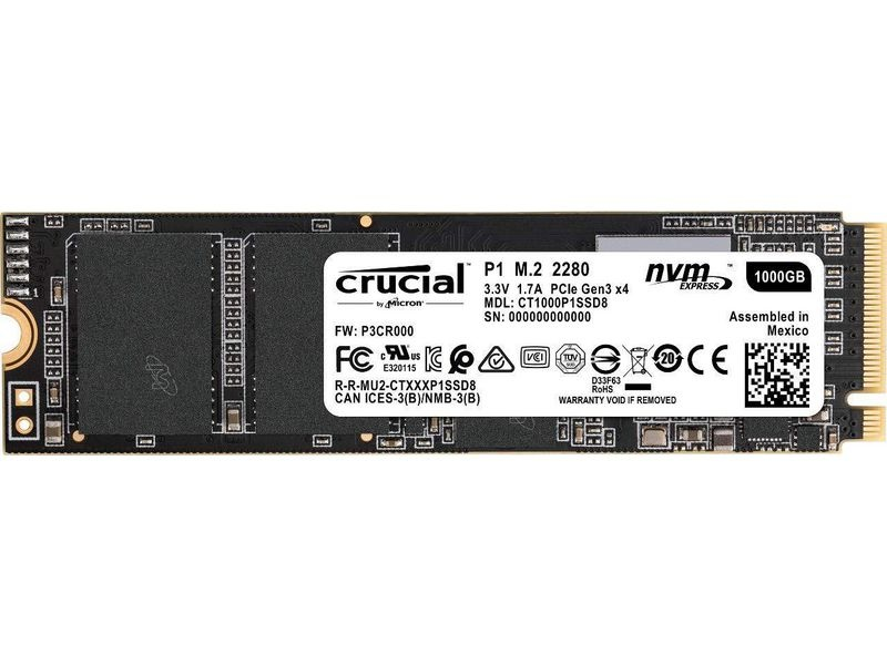 Crucial SSD P1 3D NAND NVMe M.2 2280 NVMe 1 TB