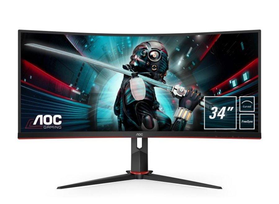 """AOC Monitor CU34G2/BK -  Bildschirmdiagonale: 34"""", Auflösung: 2560 x 1440 (WQHD), Paneltyp: VA, Bildschirmoberfläche: Matt, Farbraum: Anderer, USB-Hub, Farbe: Schwarz; Rot; Weiss, Seitenverhältnis Bildschirm: 21:9"""