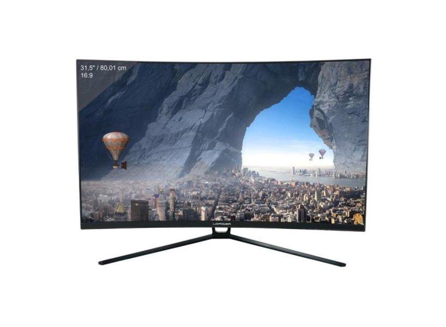 """LC-Power Monitor LC-M32-QHD-144-C  - Bildschirmdiagonale: 31.5"""" Auflösung:31.5""""-Display mit 2560 x 1440 Pixeln (QHD) und 16:9-Breitbild - Anschlüsse: 1x HDMI / 1x DisplayPort / 1x DVI / 1x Audio out (3,5mm-Klinke) / Höhe 424 mm - Tiefe 90 mm - Breite 718"""
