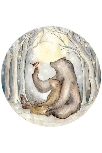 Rotkehlchen und der Bären mini Tapetenkreis