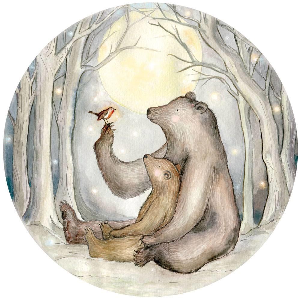 Rotkehlchen und der Bären mini Tapetenkreis-1