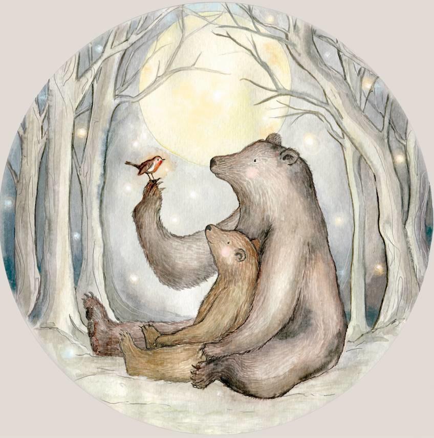 Rotkehlchen und der Bären mini Tapetenkreis-6