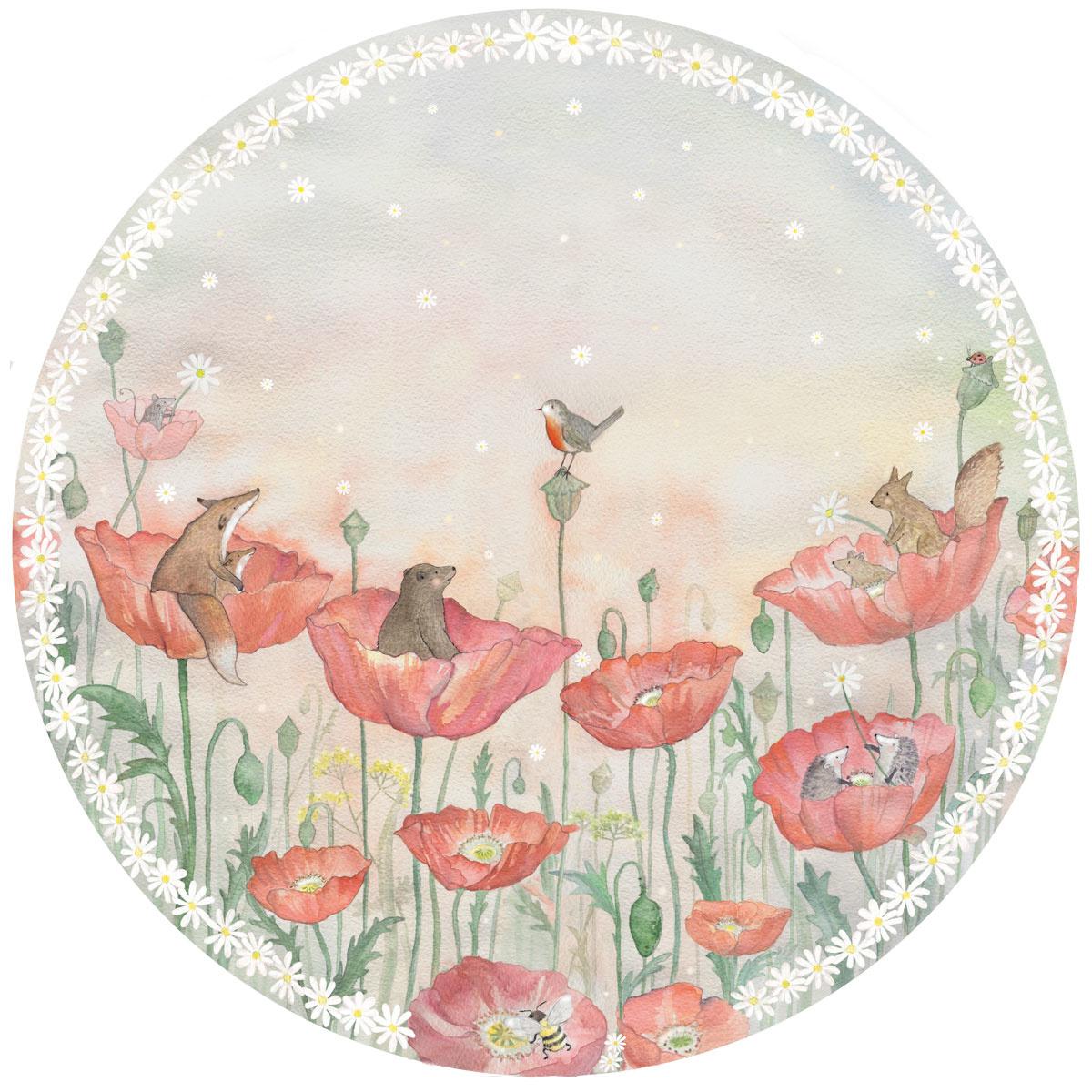 Mohnblumen Traum Tapetenkreis-1