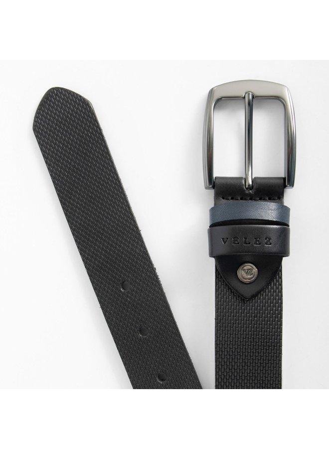 Velez leather belt engraved black