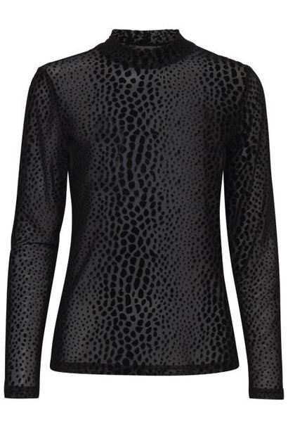 Doorschijnend zwart shirt