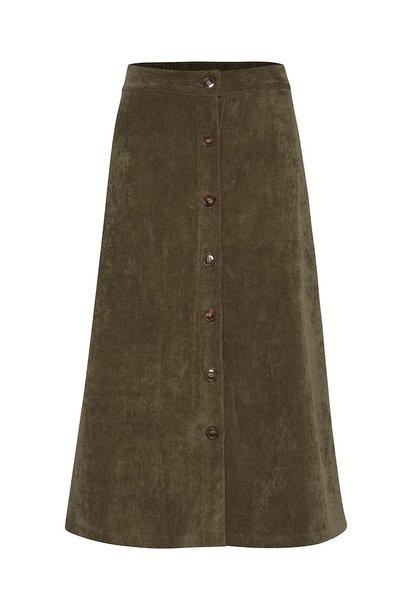 Lange groene rib rok
