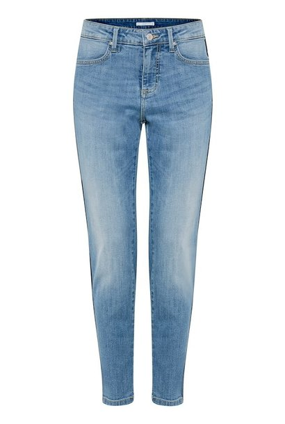 Slimfit jeans met blauwe bies