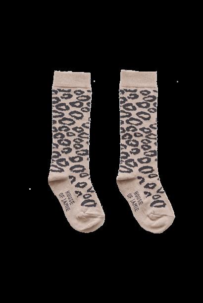Knie sokken leopard karamel