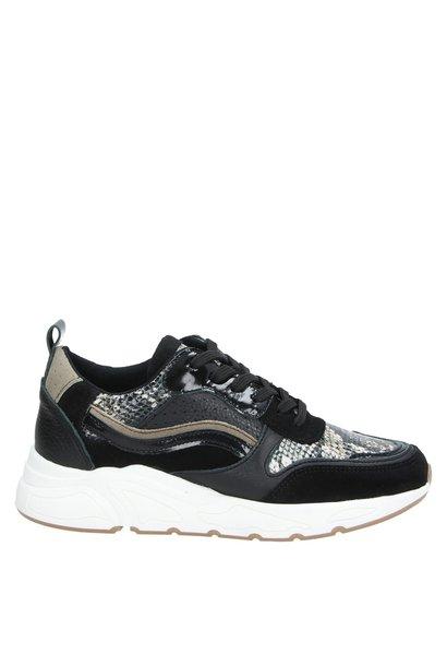 sneaker, zwart/slangen print