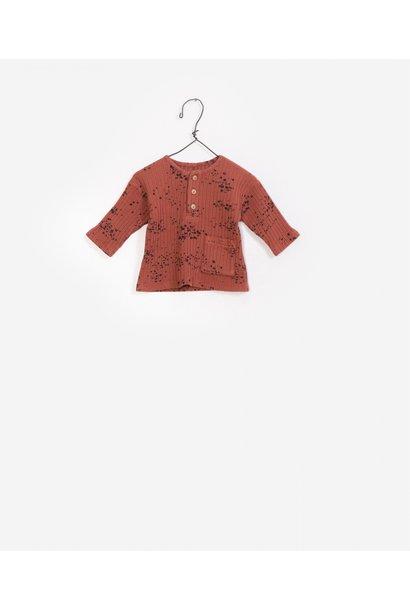 Geribbelde sweater met print