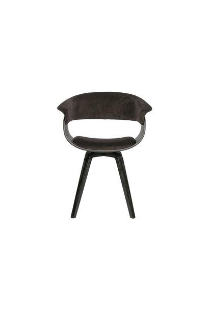 Eetkamer stoel velvet bruin/zwart