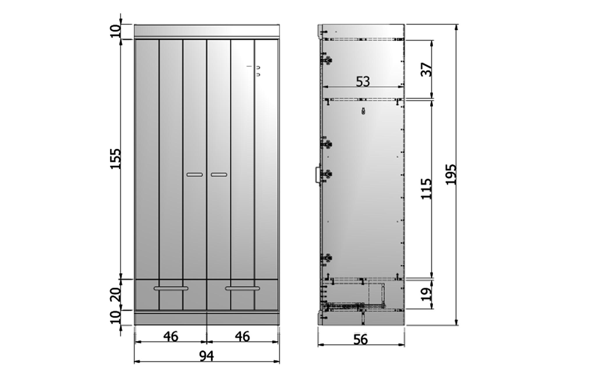 2-Deurs kast met lade&strokendeur-4