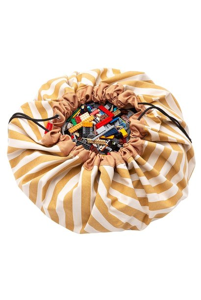 Storage bag & playmat stripes mustard