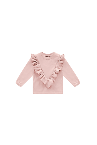 Front ruffled sweater roze