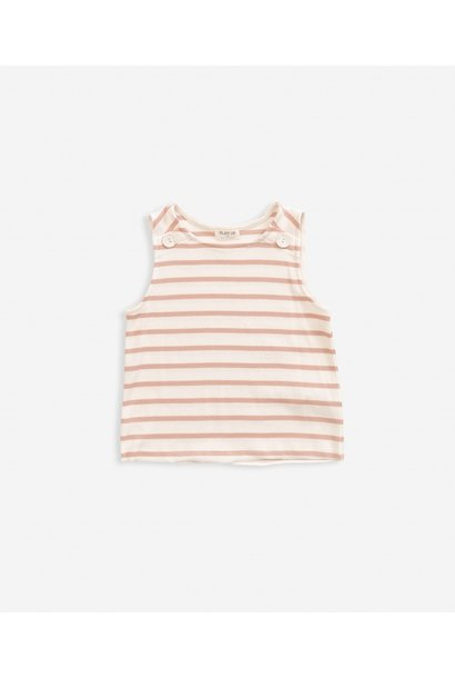 Striped sleeveless rib t-shirt