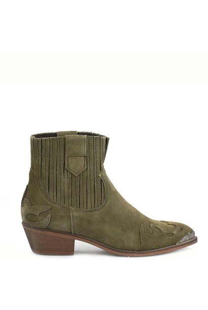 Austin flame metal suede - green