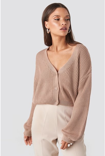 Volume sleeve cardigan dusty light pink