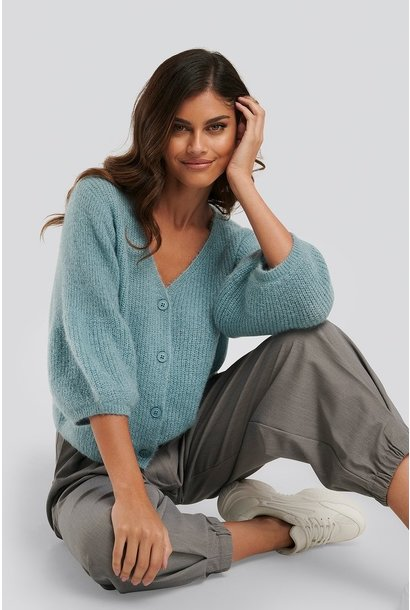 Balloon sleeve short knitted cardigan