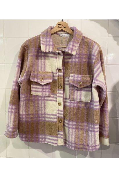 Jacket ruit bruin paars