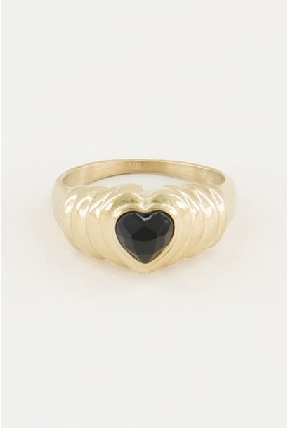 Ring hart - zwarte onyx steen goud