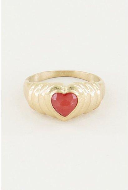 Ring hart - jade steen goud