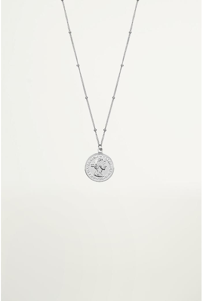 Necklace coin elizabeth zilver