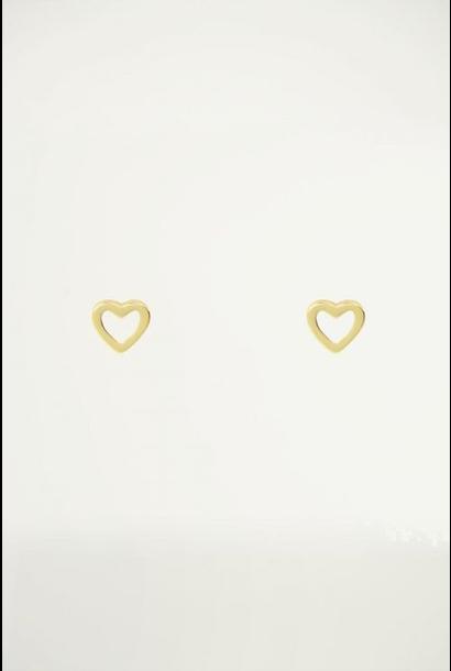 Studs open hart goud