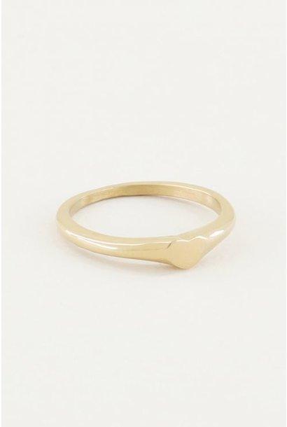 Ring met hartje goud