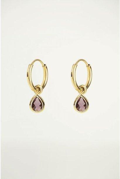Oorringen met paarse druppel goud