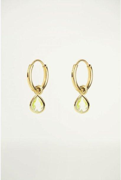 Oorringen met groene druppel goud