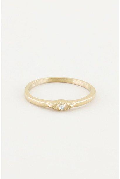 Ring met wit steentje goud