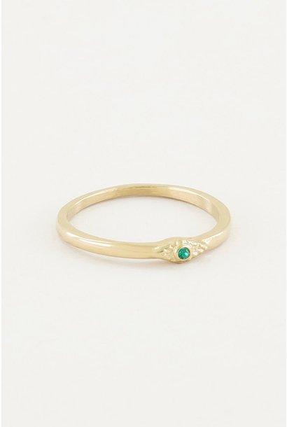 Ring met groen steentje goud