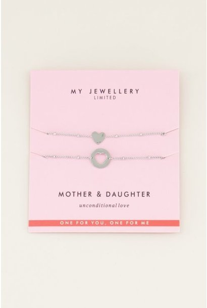 Mother daughter armband zilver