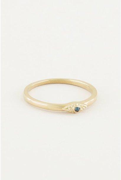 Ring met blauw steentje