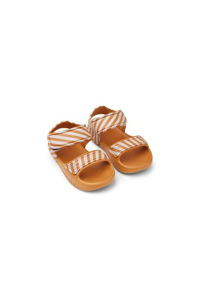 Blumer sandals - stripe mustard/ creme de la creme