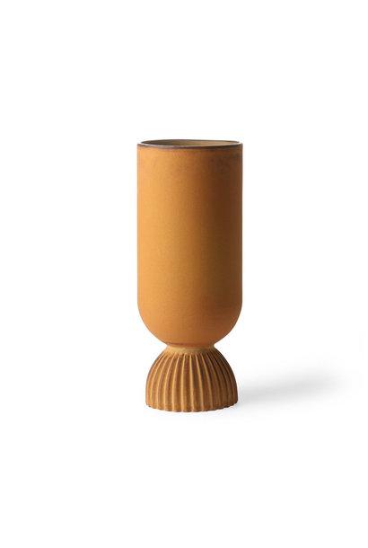 Ceramic flower vase ribbed