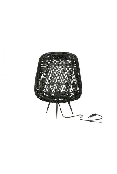 Moza tafellamp bamboe zwart set van 2