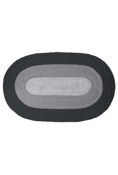 Border vloerkleed ovaal jute zwart/ grijs