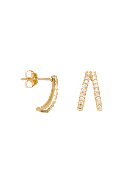 Double zirconia huggie earrings