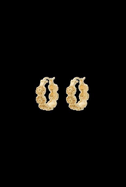 Daisy plain ring earrings silver goldplated