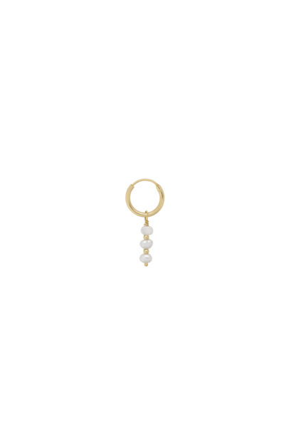 Single pearly ring earring silver goldplated