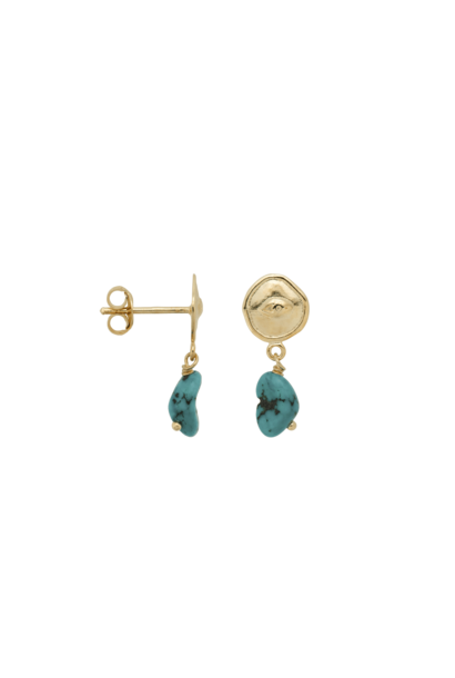 Single turquoise spy stud silver goldplated