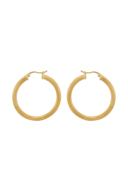 Pyramid hoop earrings brass goldplated