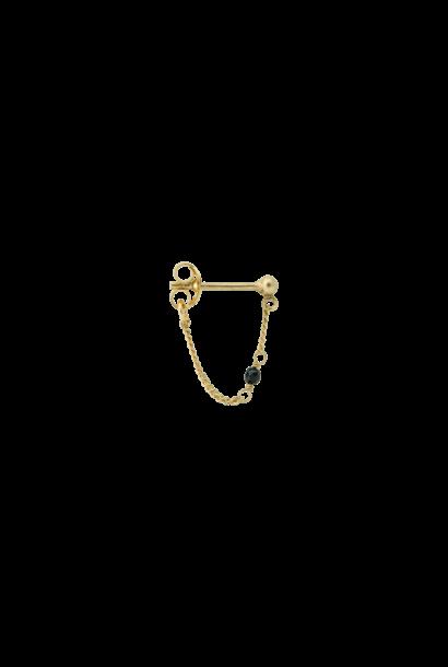 Single meteorite chain earring silver goldplated