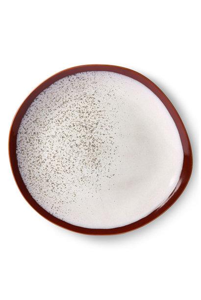 Ceramic 70's dinner plate set of 2 : frost