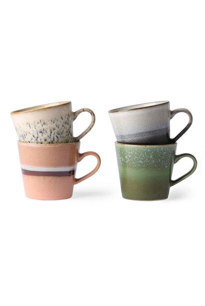 Ceramic 70's cappuccino mugs set of 4