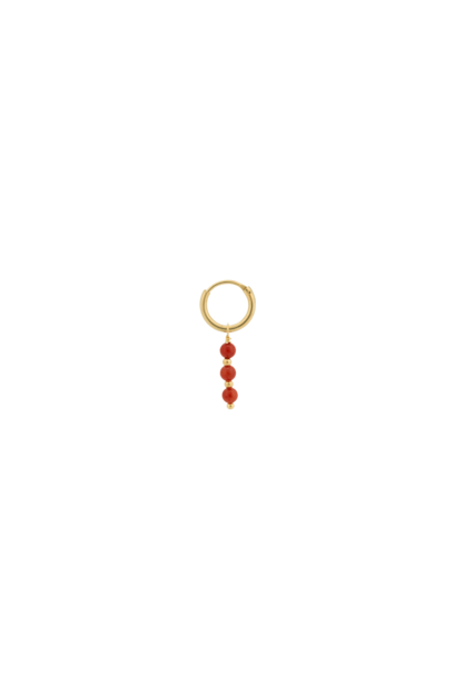 Single coral ring earring silver goldplated