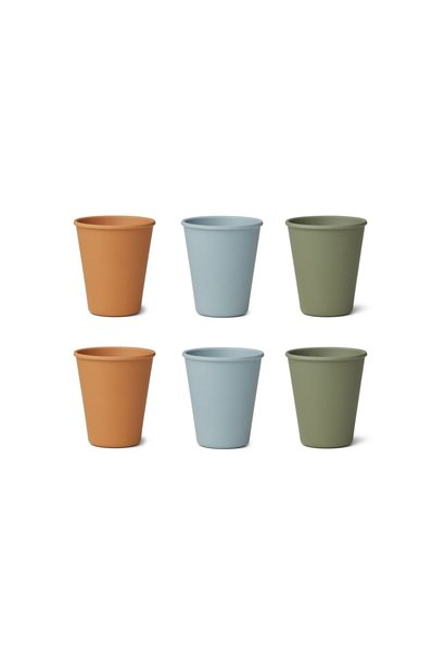 Gertrud bamboo cup - 6 pack Blue multi mix