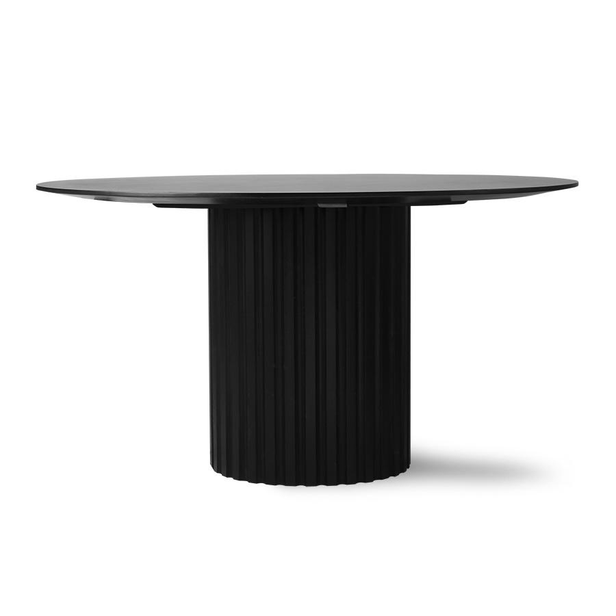 pillar dining table round black-2
