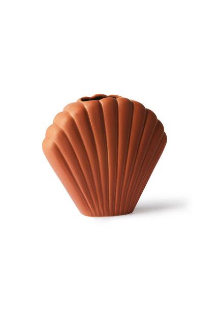 ceramic shell vase brown M